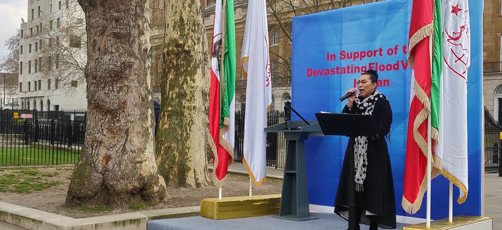 Stödaktion i London i solidaritet med översvämningsoffer i Iran