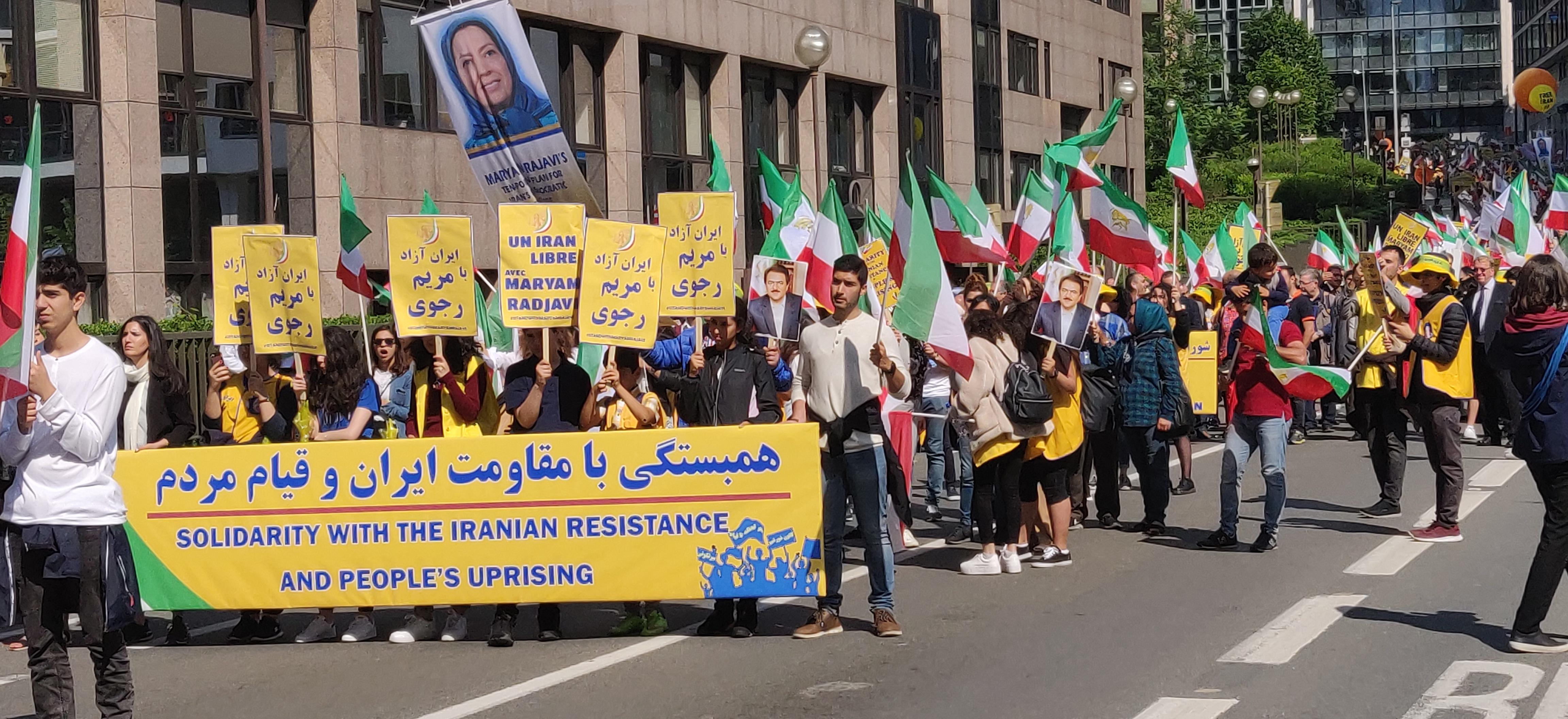 Protestmarsch i Bryssel mot iranska regimen, den 15 juni 2019