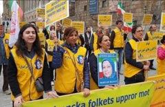Stödaktion i Stockholm för folkliga protester i Iran, den 11 maj.