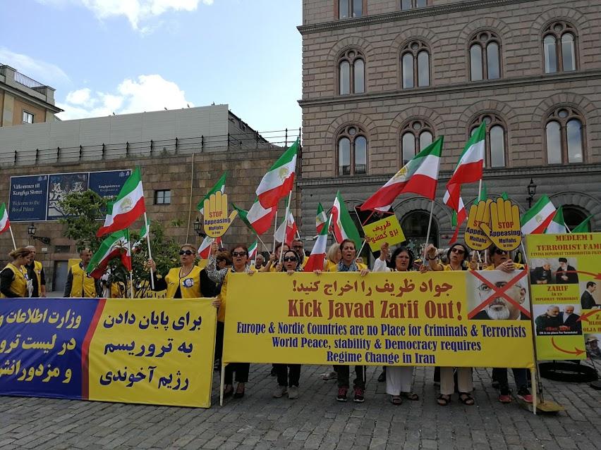 Demonstration mot Zarifs Sverigebesök, Mynttorget